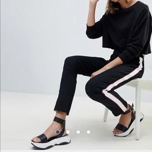 ASOS DESIGN cigarette pants with side piping